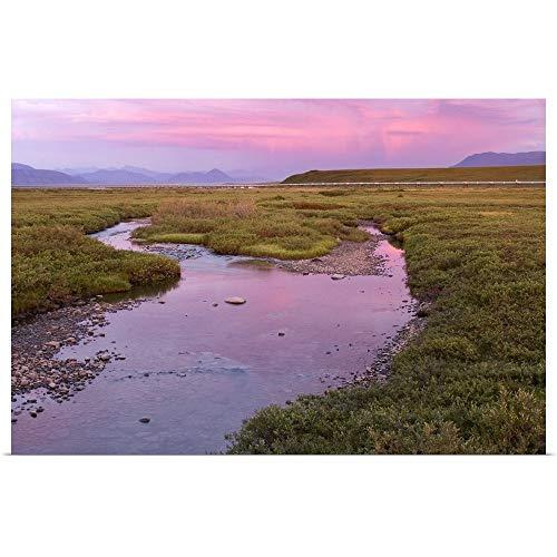 "GREATBIGCANVAS Poster Print Entitled Sunset Light Reflecting in Sagavanirktok River with Trans Alaska Pipeline by 18""x12"""