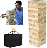 PatioFestival Giant Wooden Tumbling Timbers with Storage Bag, Hardwood Block Stacking Game for Yard Games (60
