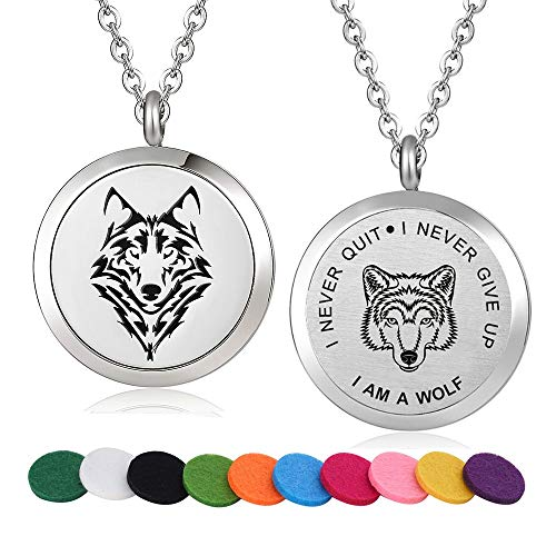 Stainless Steel Wolf Design Aroma Therapy Aromatherapy Essential Oil Diffuser Necklace Locket Pendant (Style 18)