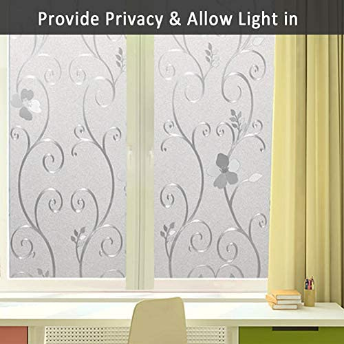 Mikomer 3D Flower Privacy Window Film,Frosted Decorative Glass Door Film,No Adhesive Stained Glass Window Decor,Static Cling Heat Control Anti UV for Home and Office,35 inches by 157 inches