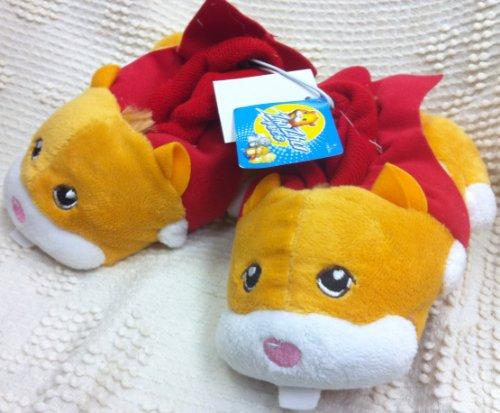 Zhu Zhu Zhuzhu Pets Orange Red Plush Soft Comfy Kids Size 7-8 Slippers Shoes, Great Halloween Costume -