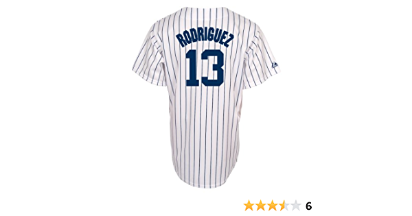 Majestic New York Yankees MLB Alex Rodriguez Juventud réplica Camiseta, Color Blanco/Azul Marino de Rayas
