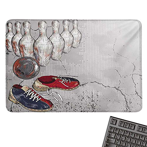 """Bowling PartyCustomize Mouse padBowling Shoes Pins and Ball in Artistic Grunge Style PrintCustomized Mouse Pad 15.7""""x23.6""""Pale Grey Red and Dark Blue"""
