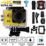 SUKEQ Action Camera, Waterproof 4K Wifi 1080P Full HD Sport Action Camera Remote Control Camera DVR Cam Camcorder