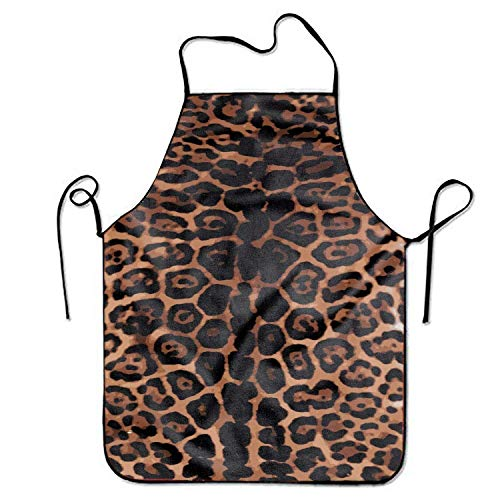 dhf016974s Modern Classic Design Leopard Print Apron Durable Easy Cleaning Creative Bib Lightweight Adjustable Neck Strap Chef Apron for Cooking BBQ