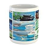 Lunarable Spa Mug, Ocean Themed Collage with Starfish Stone Botanic Plants Aqua and Candles Image, Printed Ceramic Coffee Mug Water Tea Drinks Cup, Blue and Green