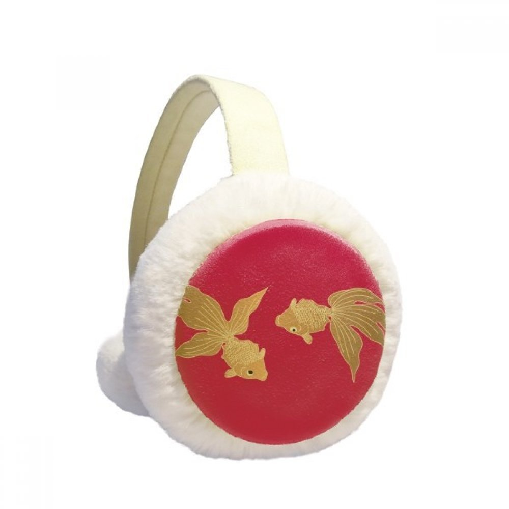 Painting Japanese Culture Fish Winter Earmuffs Ear Warmers Faux Fur Foldable Plush Outdoor Gift
