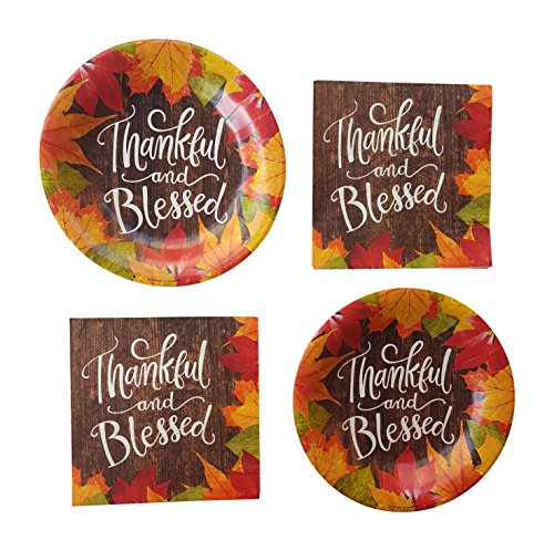 Fall Party Supplies Thankful And Blessed Thanksgiving Party Plates 20 Count Large Appetizer Dessert Plates & Napkins Leaves Fall themed Colors