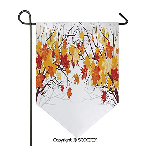 SCOCICI Easy Clean Durable Charming 28x40in Garden Flag Image of Canadian Maple Leaves in Fall with Soft Reflection Effects,Orange White Double Sided Printed,Flag Pole NOT Included