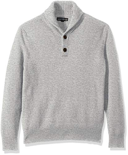 J.Crew Mercantile Men's Lambswool-Nylon Shawl Collar Sweater, Heather Grey, XS