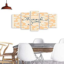 UHOO 5 Piece Wall Art Painting PrintThank You Card Design Template Simple Greeting Card Elegant Note Label Thanksgiving Symbol sign4. odern Decoration Living Room