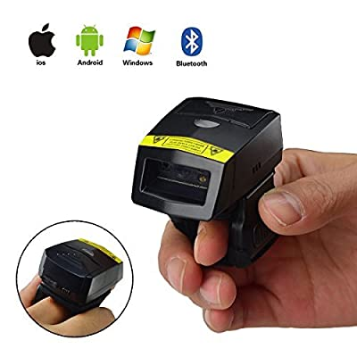 Image of 2D Wireless Finger Scanner, Mini FS02 Ring Scanner with Alloy Shell & 350mAh Battery, Cordless Imager Barcode Reader Android iOS for Logistic & Supermarket Bar Code Scanners