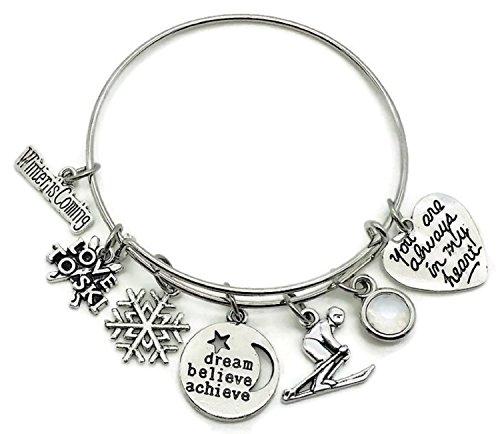 Kit's Kiss Skiing bracelet, Skiing jewelry, Skier bracelet, I love to ski bracelet, skier charm, snowflake charm, dream believe achieve charm, gift for skier, sports bracelet, Skiing bangle bracelet