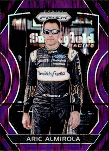 (2018 Panini Prizm Purple Flash Prizm #42 Aric Almirola Smithfield Foods/Stewart-Haas Racing/Ford NASCAR Racing Trading Card)