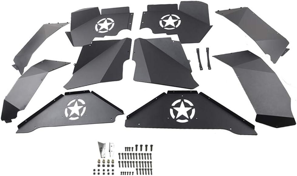 MAIKER Front and Rear Inner Fender Liners w//Five Star Logo for 2007-2017 Jeep Wrangler JK JKU 4WD Lightweight Aluminum Design Black