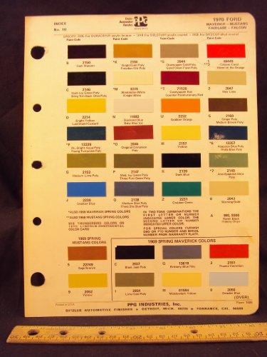 1970 FORD Maverick, Mustang, Fairlane, & Falcon + 1969 Spring Maverick Paint Colors Chip Page