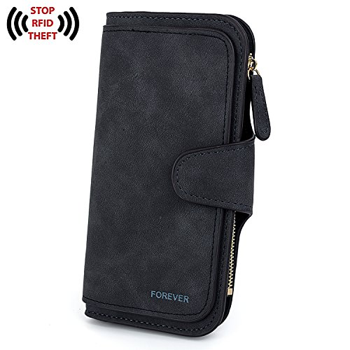 UTO RFID Wallet for Women PU Matte Leather Large Capacity Blocking Tech Wallet Card Phone Checkbook Holder Organizer Girls Coin Purse 187 Black by UTO