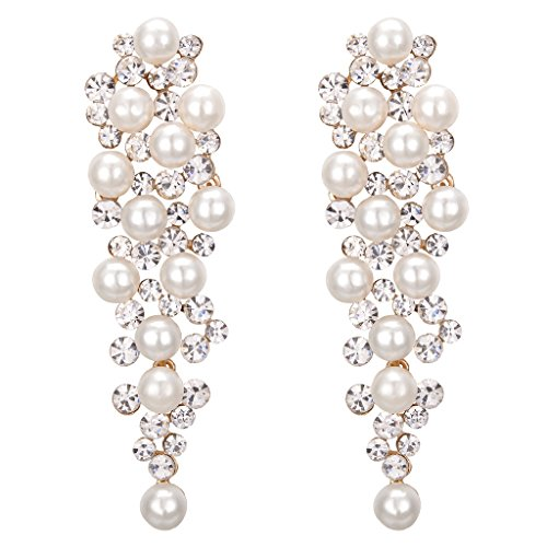 ing Bridal Crystal Ivory Color Simulated Pearl Multi Beaded Cluster Chandelier Dangle Earrings Clear Gold-Tone (Beaded Cluster Drop Earrings)