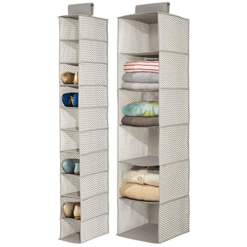 mDesign Fabric Over Rod Hanging Closet Storage Organizers, Includes a Wide 6-Shelf Sweater Organizer, and a Narrow 10-Shelf Shoe Rack - Chevron Zig Zag Print - Set of 2 - Taupe/Natural