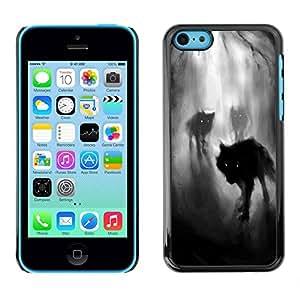 All Phone Most Case / Hard PC Metal piece Shell Slim Cover Protective Case Carcasa Funda Caso de protección para Apple Iphone 5C Fog Night Dark Woods Werewolf