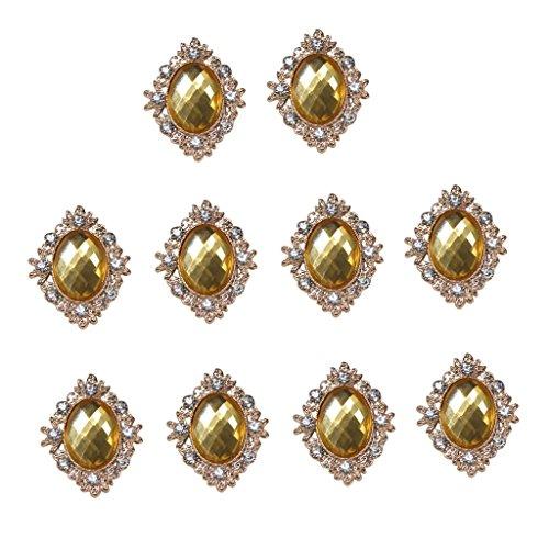 10pcs Rhinestone Gems Cabochons Flat Back Embellishments Wedding Phone Decor - Gold