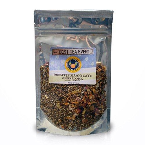 IMPEACH TEA Premium Loose Leaf Green Rooibos - Caffeine Free - Hot or Iced Tea - 20 Servings (Pineapple Mango Caye Green Rooibos 2 oz)