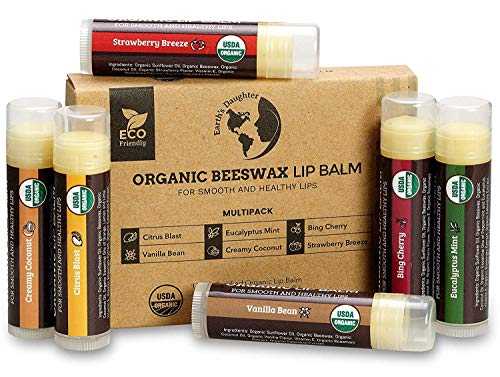 Lips Stick Vitamin E - USDA Organic Lip Balm 6-Pack by Earth's Daughter - Fruit Flavors, Beeswax, Coconut Oil, Vitamin E - Best Lip Repair Chapstick for Dry Cracked Lips.