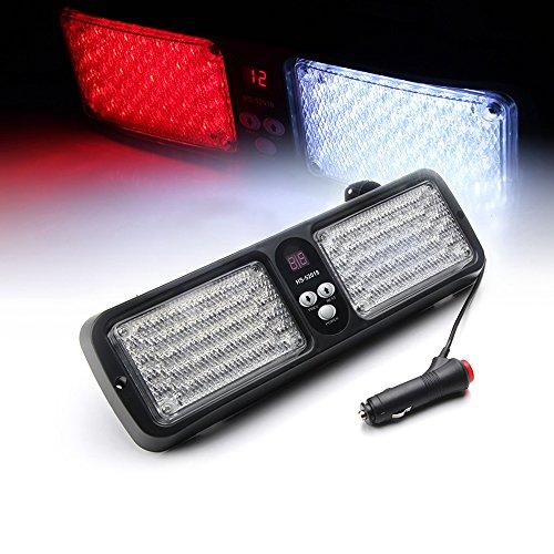 Xprite White & Red 86 LED Windshield SunShield High Intensity LED Law Enforcement Emergency Hazard Warning Strobe Lights