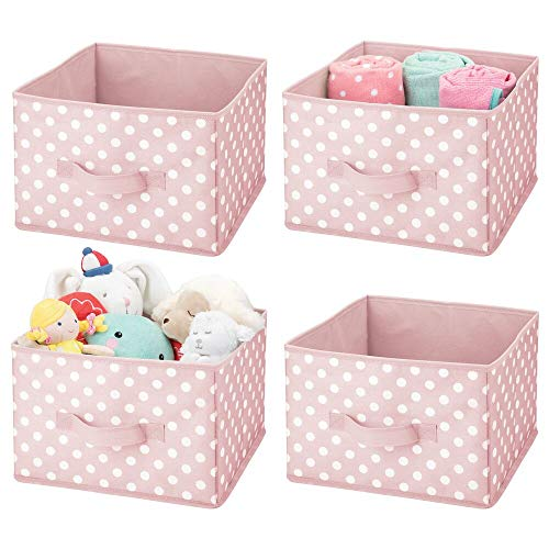 mDesign Soft Fabric Closet Storage Organizer Holder Box Bin - Attached Handle, Open Top, for Child/Kids Bedroom, Nursery, Toy Room - Fun Polka Dot Print - Medium, 4 Pack - Pink with White Dots