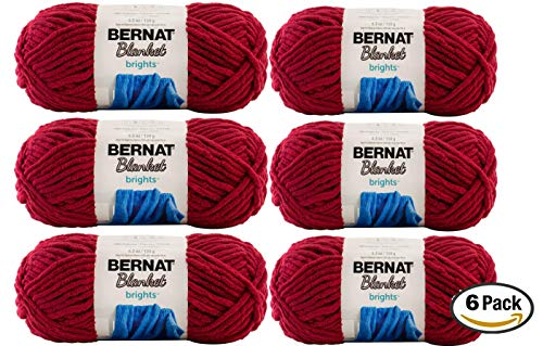 (Bernat Blanket Yarn (6-Pack) Super Bulky #6 5.3 oz 108 Yds ea (Race Car Red))