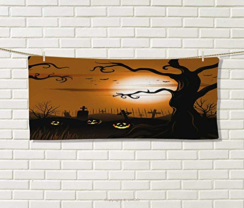 Anniutwo Halloween,Travel Towel,Leafless Creepy Tree Twiggy Branches at