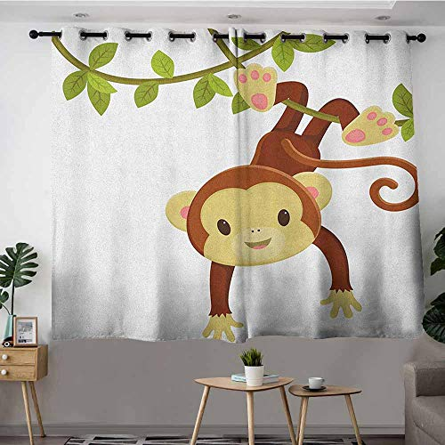 DGGO Doorway Curtains,Nursery Cute Cartoon Monkey Hanging on Liana Playful Safari Character Cartoon Mascot,for Bedroom Grommet Drapes,W55x39L Brown Green Pink