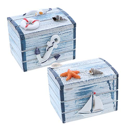 SandT Collection Anchor & Big Sailboat 3 Inch Nautical Treasure Chest Trinket Box - Set of 2