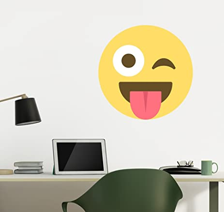 Amazoncom Emoji One Peel Stick Wall Decal Face With StuckOut - Emoji wall decals