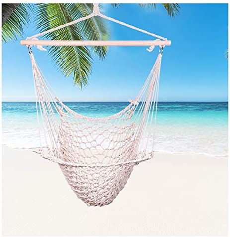 CreazyBee Hanging Hammock Chair Swing Seat with Soft Cotton Rope, Sturdy Wood Bar, 250lbs Capacity for Indoor Outdoor Bedroom Garden Yard Patio Porch White