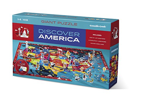 Crocodile Creek Discover America Learn + Play 100 Piece Jigsaw Floor Puzzle and 21 Figures, 36