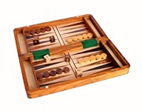 Stonkraft Wood Backgammon and Chess Set Combo - 12 Inch Travel Size Portable Folding Game Board with Storage and Magnetic Chess and Backgammon Pieces in Rosewood - Handmade Traveling Wooden Indoor Family Board Games