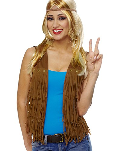Brown Cowgirl Vest (Costume Culture Women's Hippie Fringed Vest, Brown,)