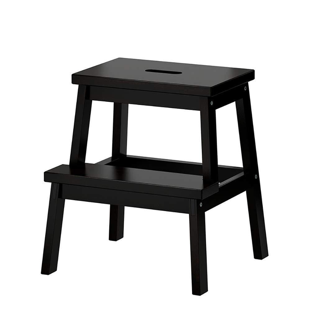 DNSJB はしごスツール2段ソリッドウッドステップスツール、スモールスツール、靴ベンチ、ホームベンチ (Color : Black) B07SSWXW4B Black