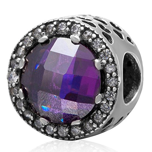 Focal Bead Faceted - Ollia Jewelry 925 Sterling Silver Beads Focal Point Focus Point Charm with White and Faceted Purple Zircon Stones Hollowed-out Hearts Round Button Shape Charms