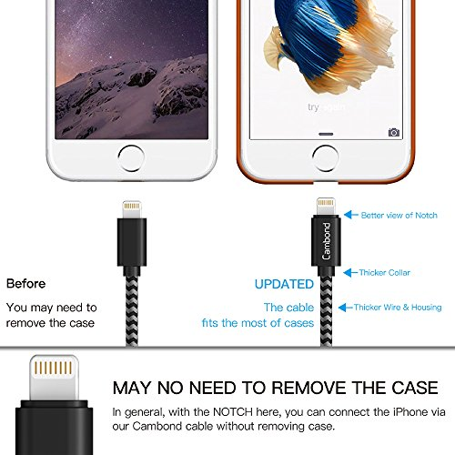 Amazon.com: iPhone 8 Charger, 2 Pack Cambond 10 ft Long Braided MFI ...