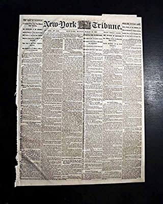 INVASION OF KENTUCKY Williamsburg VA & Vicksburg MS 1863 Old Civil War Newspaper NEW YORK TRIBUNE, March 30, 1863