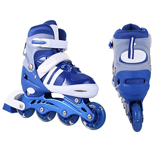 Dtemple Kids Adjustable Inline Skates Illuminating Wheel Rollerblades Breathable Lightweight PU Wheel PP Material Indoor Outdoor Roller Skates for Beginners Boys Girls US Stock