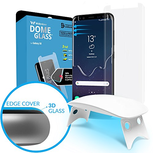 Galaxy S8 Screen Protector Tempered Glass Shield, [Liquid Dispersion Tech] 3D Curved Full Coverage Dome Glass, Easy Install Kit and UV Light by Whitestone for Samsung Galaxy S8 (2017) – Seesaw Version