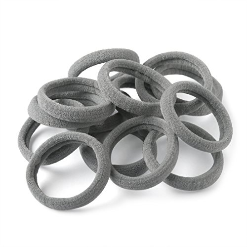 Gray Holder (XIMA 60pcs Nylon Elastic Hair Ties Hair Ties Bands Rope No Crease Elastic Fabric Large Cotton Stretch Ouchless Ponytail Holders (60pcs-Gray(HT007-19)))