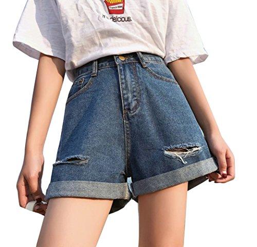 Runyue Donne Hot Pants A Vita Alta Pantaloncini In Jeans Basic Sciolto Denim Shorts Pantaloni Corta Larghi