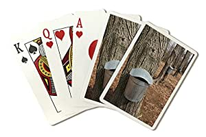 Maple Tree Sap Buckets (Playing Card Deck - 52 Card Poker Size with Jokers)