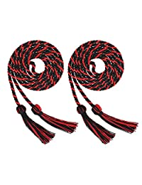 Volwco 2 Pieces Graduation Cords Polyester Yarn Honor Cord, Honor Cords, Graduation Cords, Honor Cord Tassels for Graduation Students, Black and Red Graduation Cord