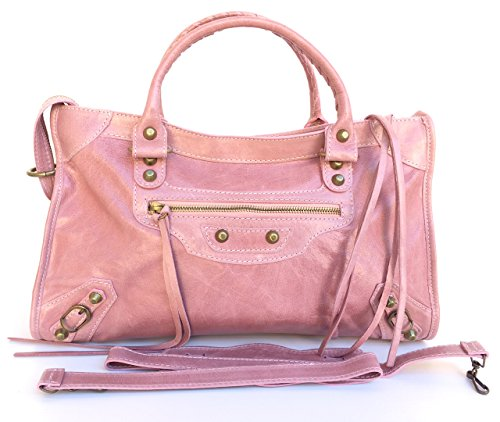 Model Effect Superflybags Women's Size Handbag Made Calfskin M Pink Lux Aged Italy Italian Leather Genuine Barcellona Mirror In zzdrnqw0