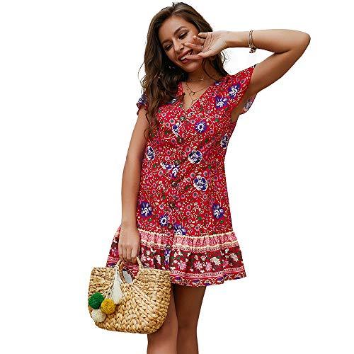 Exlura Women's Summer Bohemian Floral Printed Wrap V Neck Short Sleeve Ruffle Mini Dress Red ()